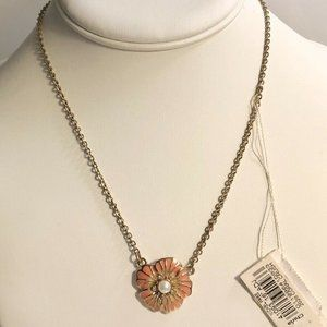 2028 Gold-Tone Crystal Flower Pendant Necklace